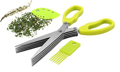 Master Culinary Herb Stripper and 5-Blade Herb Scissors featuring Cleaning Brush 3-in1 Kitchen Kit (Culinary Herb)