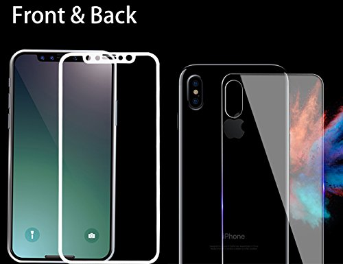 iPhone X Front Back Screen Protector Full Cover Corning gorilla Tempered glass Screen Guard 5D Ultra Thin Handy Display for iPhone X - White Edge by YBC(1 Pcs Front & 1 Pcs Back) Back Gorilla