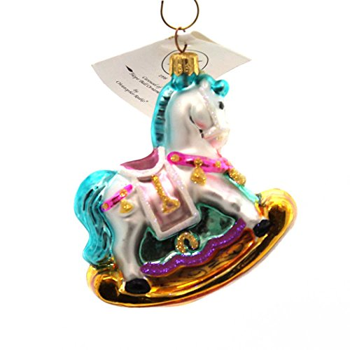 Christopher Radko CAROUSEL OF HOPE BALL ORNAMENT Glass Rocking Horse