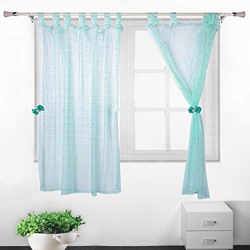 Sequin Tulle Window Curtains Mint Green Sheer Curtain with Bow Curtain Buckle for Bathroom Shower Girl Room Kitchen Living Room Bedroom (2 Panels 52