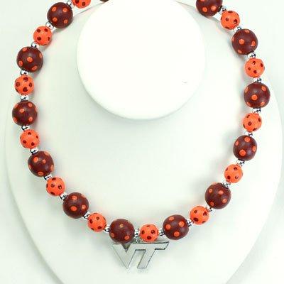 NCAA Virginia Tech Hokies Maroon-Orange Polka Dot Beaded Necklace by NCAA