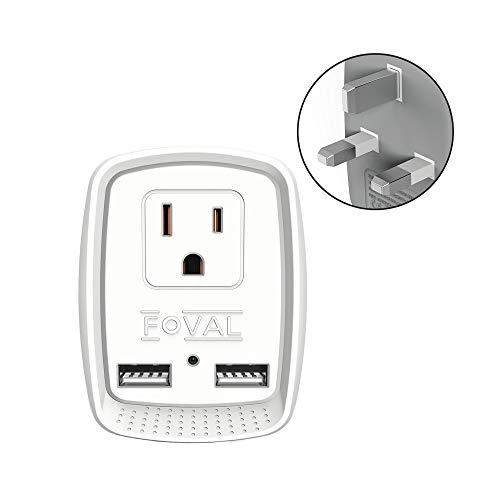 UK England Adapter Plug, FOVAL 3 in 1 UK Adapter with 2 USB Port, International Travel Adapter for USA to British England Scotland HongKong (Type G) (Uk Multi Plug)