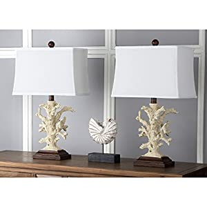 Safavieh Lighting Collection Key West Cream Coral 21 Inch Table Lamp (Set  Of 2)