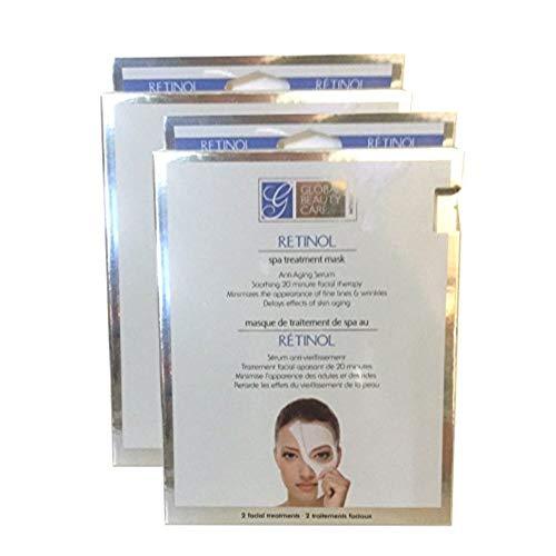 Global Beauty Care Retinol Spa Treatment Facial Mask Women Repair Revitalize Restore Face Sheet 4 Masks Per Pack 2 Packs ()
