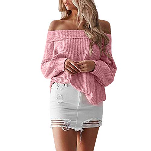 Joopee Women Winter Warm Slash Neck Solid Long Batwing Sleeve Loose Thick Crocheted Sweater(S,Pink) ()
