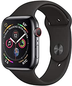 Apple Watch Series-4 GPS + Cellular 44mm Space Black Stainless Steel Case with Black Sport Band (MTX22AE/A)