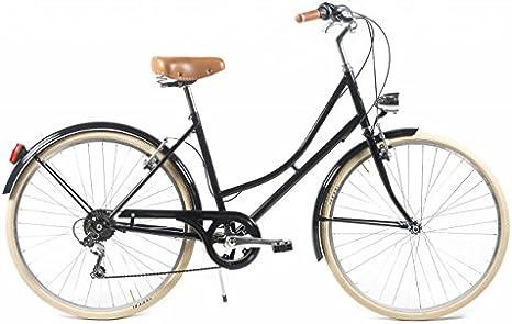 Capri Bicicleta de Paseo Barcelona Negro-Crema 6 Velocidades ...