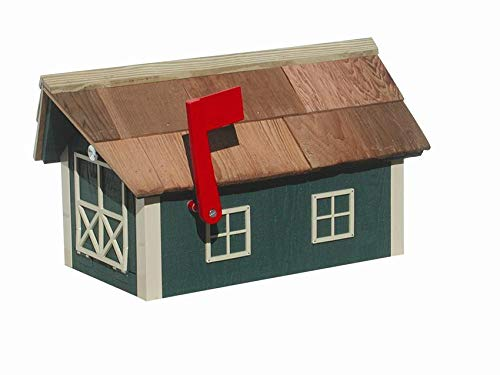 JMX Brands Inc Amish Barn-Style Mailbox with Cedar Shingle Roof (Green with Beige Trim) ()
