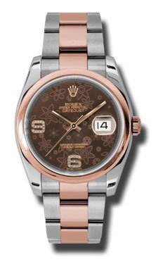 Rolex Datejust 36 Automatic Brown Floral Diamond Dial Steel and 18kt Rose Gold Ladies Watch 116201BRFDAO