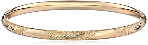 14k Yellow Gold Diamond-Cut Bangle Bracelet (5mm)