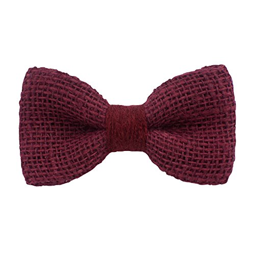 Bow Tie House Rustic Pre-Tied Bow Tie in 100% Burlap Hessian (Small, Dark Red) by Bow Tie House