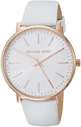 Michael Kors Women's Pyper Stainless Steel Quartz Watch with Leather Strap, White, 18 (Model: MK2800)