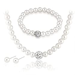 Silver Plated White Faux Pearl Jewelry Sets