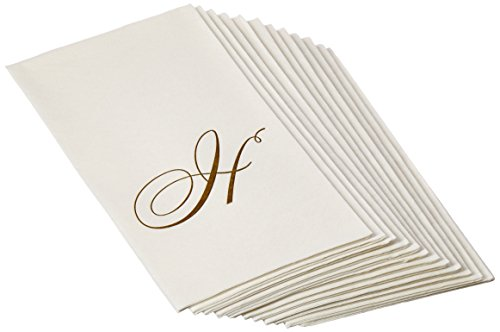 - Entertaining with Caspari White Pearl Paper Linen Guest Towels, Monogram Initial H, Pack of 24