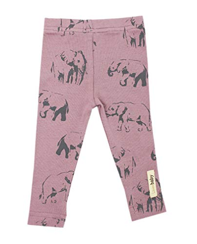 L'ovedbaby Unisex-Baby Organic Cotton Leggings (12-18 Months, Lavender Elephant)
