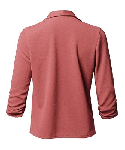 Jacket Collar Sleeve Turn Down XINHEO Biker Open Front Women Solid Pink Long Pleated RUPntATqw