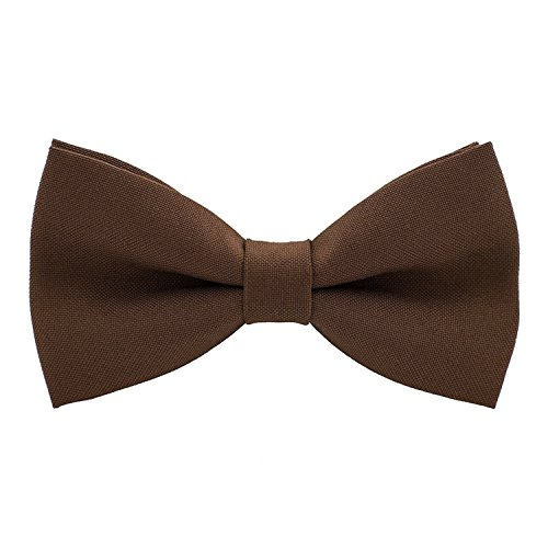 Classic Pre-Tied Bow Tie Formal Solid Tuxedo, by Bow Tie House (Small, Pecan Brown)