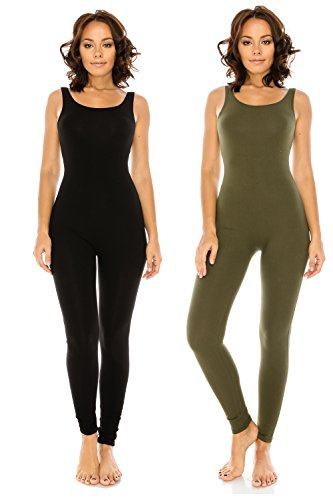 Basic Unitard (LATS BRAND Women's Stretch Cotton Yoga Leggings Jumpsuit Playsuit in Black Olive- Small)