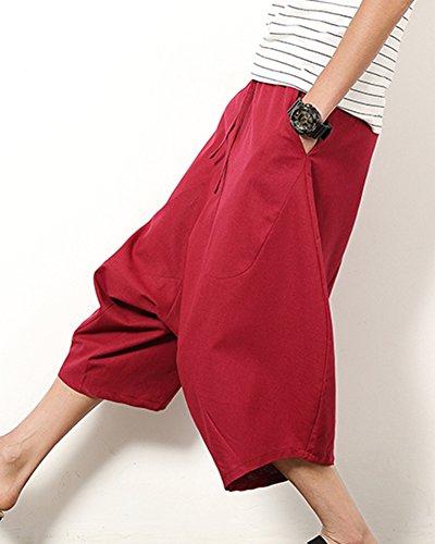 Pinocchietti Pantalone Lino Casual Pantaloncini Cavallo Uomo Pantaloni Eleganti Vino Rosso Larghi Di Basso v48xIH