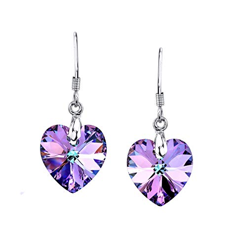 LUVAMI Vitrail Medium Multi Color Crystal Heart Drop Dangle French Hook Earrings (Purple)