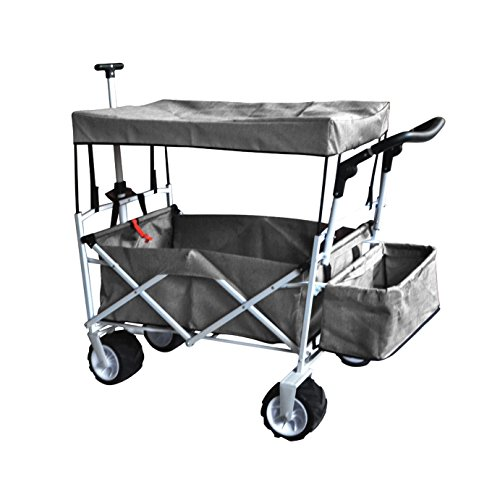 Grey Free ICE Cooler Push and Pull Handle Folding Baby Stroller Wagon Outdoor Sport Collapsible Kids Trolley W/ Canopy Garden Utility Shopping Travel Beach CART - Easy Setup NO Tool Necessary
