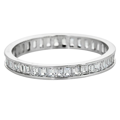 Channel Cubic Zirconia Band Ring - Decadence Sterling Silver 1.5x2mm Channel Set Baguette Cubic Zirconia Eternity Band Stackable Ring