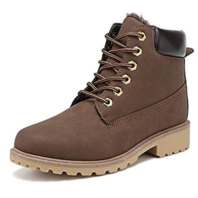 KARKEIN Ankle Boots for Women Low Heel Work Combat Boots Waterproof Winter Snow Boots Brown Size: 6