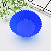 1 pcs Round Candy Color Silicone Cupcake Mold Muffin Cup Cake Baking Tools Cake Liner Moulds Pastry Tools 1597 : Dark Blue