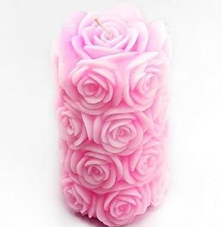 Wholeport rosa de silicona con forma de vela con forma de jabón molde para hacer vela