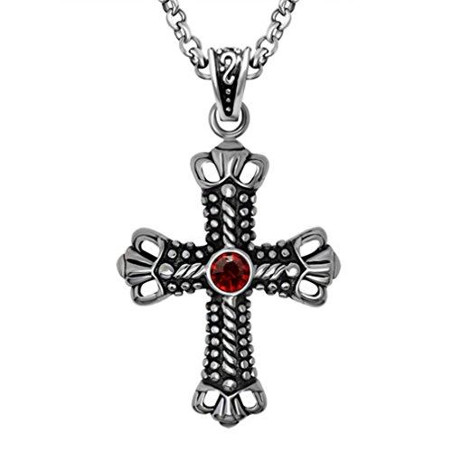[W-Q Mens Fashion Retro Cool Punk Cross Pendant Titanium Steel Necklace Sautoir(28