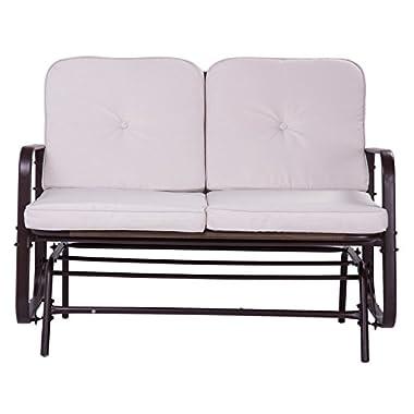 Merax Patio Outdoor Bench Loveseat Glider Rocking Chair Garden Deck Furniture Bronze (with Beige Cushions)