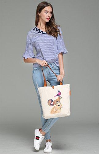 So'each Women's Rabbit Squirrel Bird Graphic Top Handle Canvas Tote Shoulder Bag