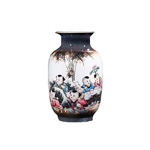 - HUIJUNWENTI Vase Decoration, Jingdezhen Ceramics, Creative Kiln Color Ink Boy Vase, Flower Insert, Chinese Home Decoration Crafts Decorative Ornaments, Boy, Ordinary Packaging And Gift Box Set Two Sty