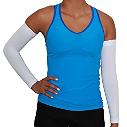 Compression Arm Sleeves - Golf Sun UV Protection - Cycling Arm Warmer - Baseball Sleeve - Basketball Shooter Arm Sleeve - Reduce Elbow Pain and Prevent Arm Fatigue (S/M, White)