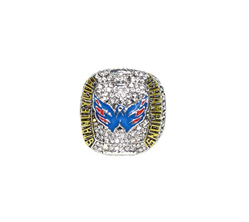 WASHINGTON CAPITALS (Alexander Ovechkin) 2018 STANLEY CUP FINAL WORLD CHAMPIONS (First Title Win) Collectible High Quality Replica NHL Hockey Silver Championship Ring with Cherrywood Display Box