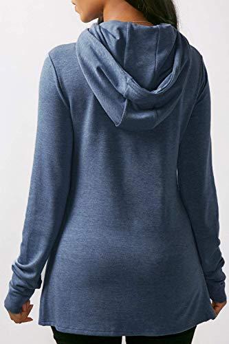 B Femme Bleu Ourlet Chemises Asymétrique Hoodie Betrothales qwCvPP