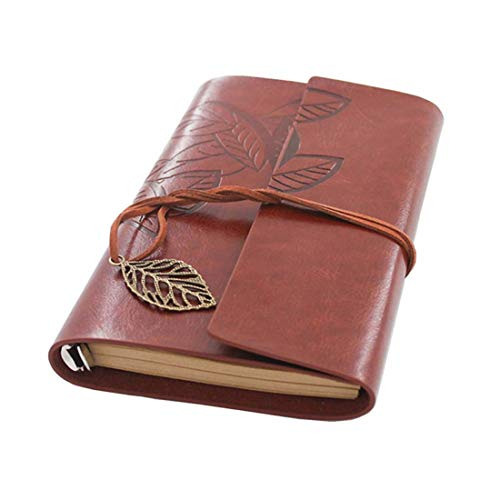 Beyong Leather Journal Diary,Notebook Men Women Gift for Him Her (Red Brown) ()
