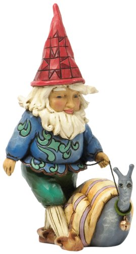 Jim Shore for Enesco Heartwood Creek Gnome Walking Snail Figurine, 5.5-Inch