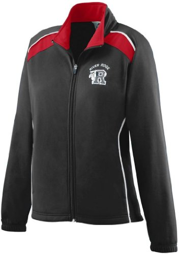 Augusta Sportswear Women's Brshd Tricot Tri-Color Jkt L Black/Red/White ()