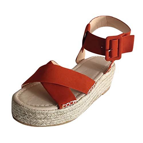 Women's Platform Wedge Sandals Espadrilles Casual Sandals Shoes Summer Ankle Buckle Open Toe Wedges Heels ()