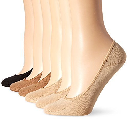 Hot Sox Women's 6 Pack Solid Invisible Liner Socks, Nude, Tan, Black, Shoe Size 4-10/Sock Size 9-11 Sox Pack
