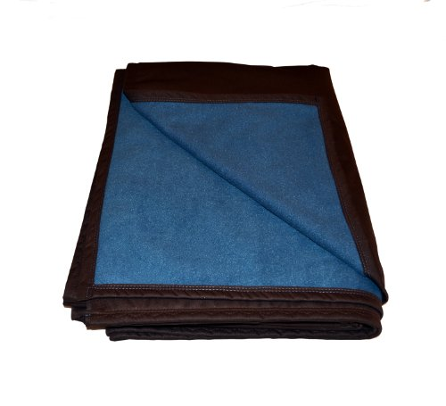 "BEST 100% WATERPROOF FLEECE PET THROW DOG BLANKET; Washable, Hypoallergenic: Guaranteed Protection For Furniture & Bed Made in USA (72 x 54"")(Blue Denim Fleece w Mocha)"