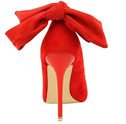 Sexy Rouge Chic Banquet Escarpins Aisun Chaussures Femme De Noeud OWq6A5Cw