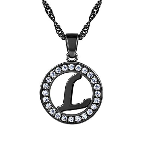 Suplight Initial Letter L Necklace Pendant Black Cubic Zirconia Personalized Letter Charm for Women/Girls