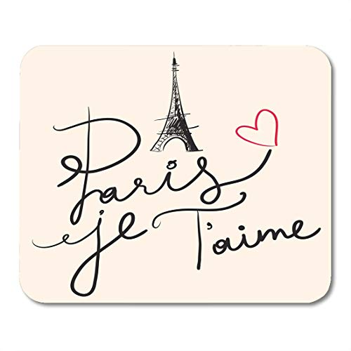 Nakamela Mouse Pads Text Heart Hand Drawn with Eiffel Tower Paris Je T'Aime Parisian Drawing Mouse mats 9.5