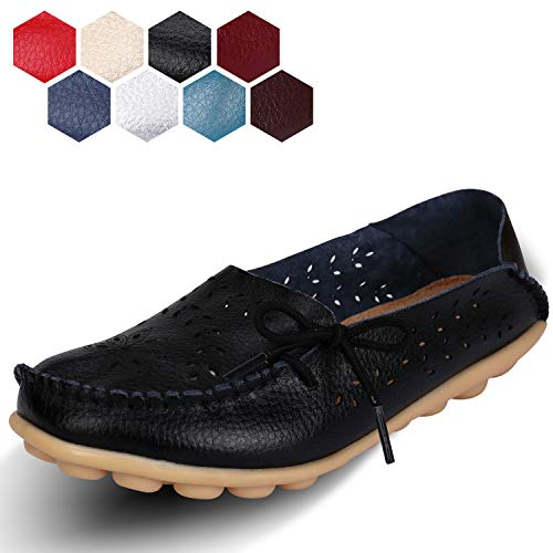 labato Women's Leather Casual Loafers Driving Moccasin Flats Slip-On Slipper Shoes ()