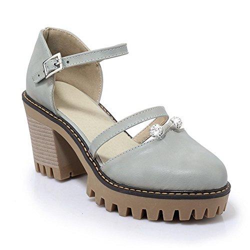 BalaMasa Womens Sandals Closed-Toe No-Closure High-Heel Cold Lining Waterproof Road Charms Huarache Bridal Sandals ASL04604 Gray 8pW8cljj9k