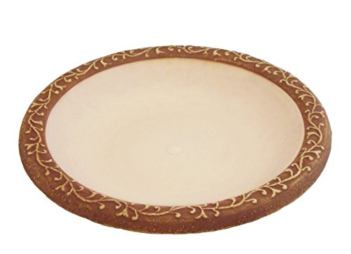 Tierra Garden 4-1763T Semi-Gloss Bird Bath Bowl with Brown Matte Rim, Ivory