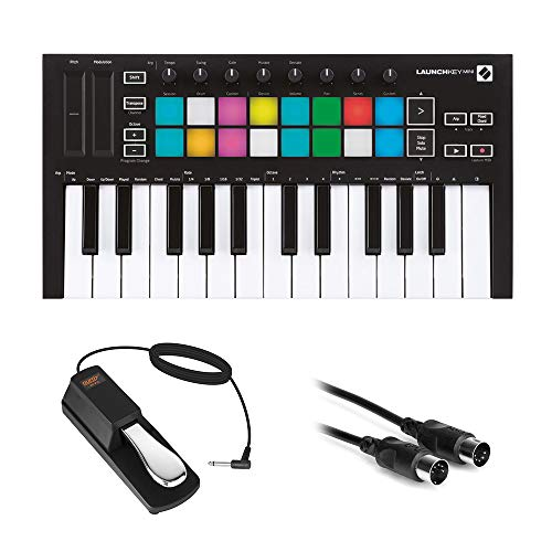 Novation Launchkey Mini MK3 25-Key MIDI USB Keyboard Controller with Sustain Pedal (Piano-Style) & MIDI Cable Bundle