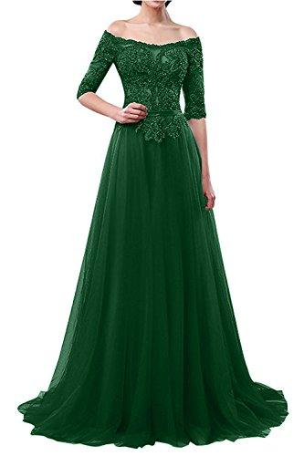 La_mia Braut Elegant Langarm Spitze Abendkleider Ballkleider Jugendweihkleider Festlichkleider A-Linie Brautmutterkleider Lang Dunkel Gruen FRqa3d